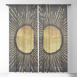 Golden Sunburst Starburst Noir Sheer Curtain