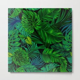 Fancy Tropical Floral Pattern Metal Print
