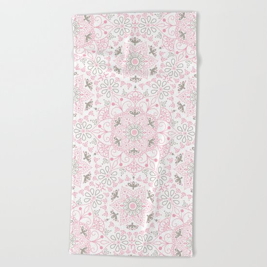 Mandala_Rose-Warm Gray Beach Towel