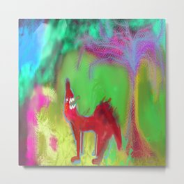 Dog Howling by 'Mickeys Art And Design' Metal Print