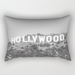 Hollywood Sign Black and White Rectangular Pillow