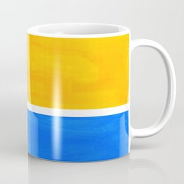 Primary Yellow Cerulean Blue Mid Century Modern Abstract Minimalist Rothko Color Field Squares Coffee Mug