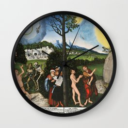 "Lucas Cranach the Elder ""Damnation and Redemption. Law and Grace"" Wall Clock"