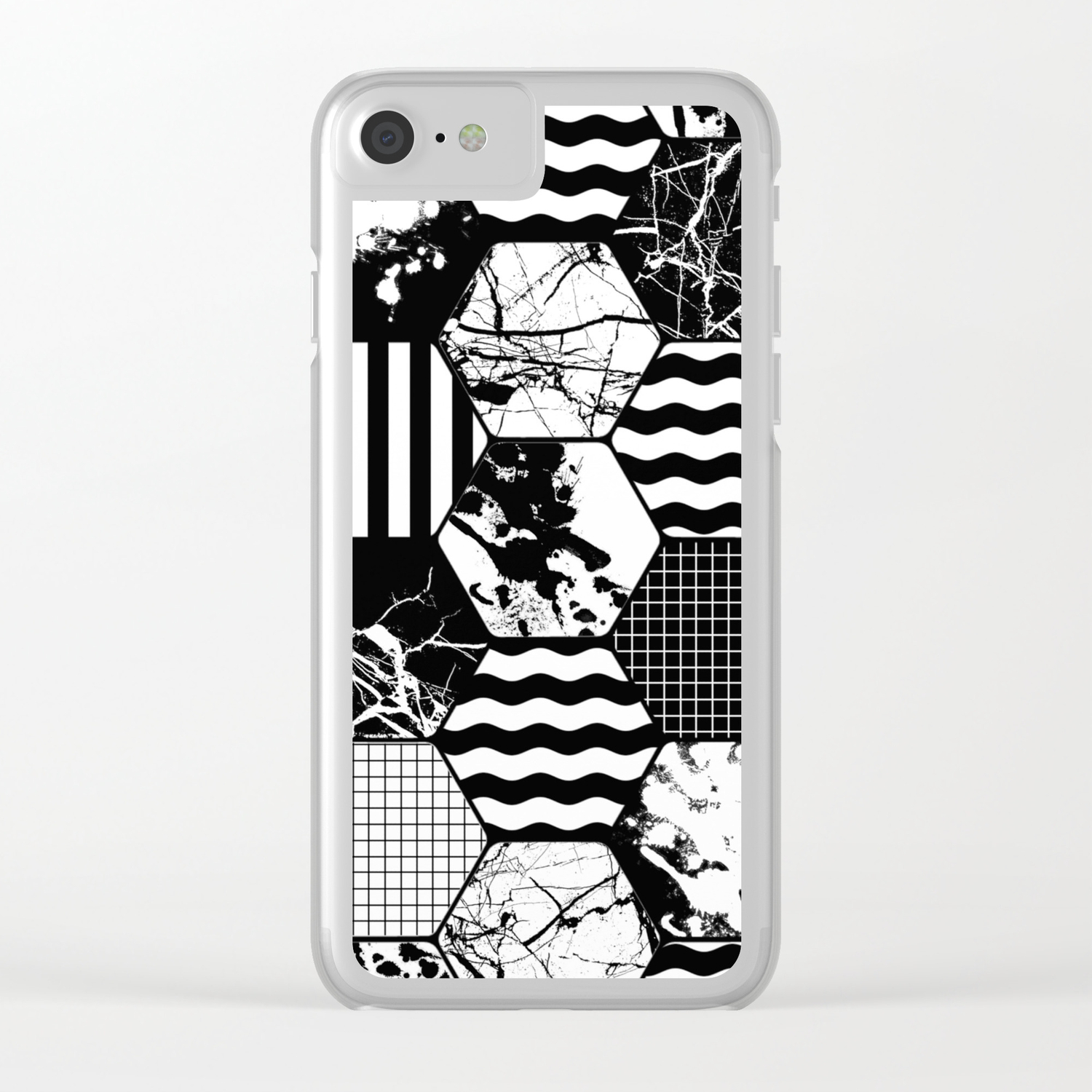 Hexual - Black and white, honeycomb, hexagon pattern, stripes, paint  splats, grid and marble Clear iPhone Case