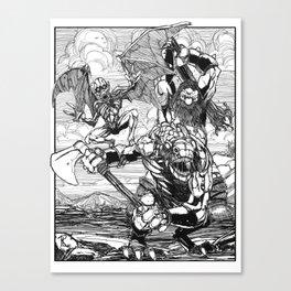 Lone Wolf Battle Canvas Print