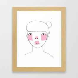 Line Drawing of Girl with Bun  Framed Art Print