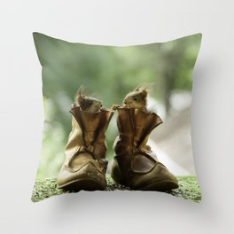 red squirrels in shoes Throw Pillow