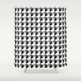 Trippy Gray Scale Hexagon Pattern Cubism - Digital Illustration Artwork Shower Curtain