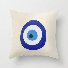 Blue Evil Eye Throw Pillow
