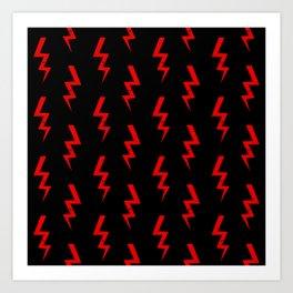 Lightning bolt fun pattern decor red and black boys room nursery superhero Art Print