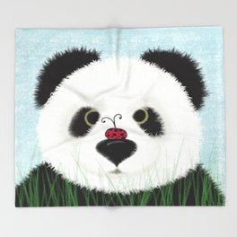 The Panda Bear And His Visitor Throw Blanket