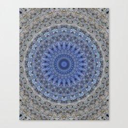 Gray and blue mandala Canvas Print