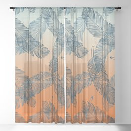Blue Feathers Pattern Sheer Curtain