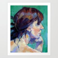 Woman Looking Over Her Shoulder Art Print