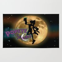 popeye Area & Throw Rugs featuring POPEYE THE SAILOR MOON - 001 by Lazy Bones Studios
