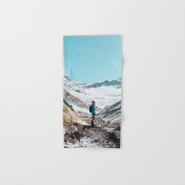 UNRECOGNIZABLE - PERSON - STANDING - ON - SNOWY - PATH - AND - ADMIRING - VIEW - ON - MOUNTAIN - PHOTOGRAPHY Hand & Bath Towel