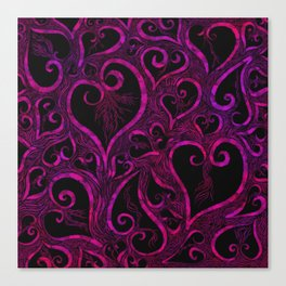 Tendrils of Love xoxo Pink and purple Canvas Print