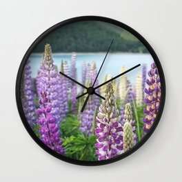 Lupins near Lake Tekapo in New Zealand Wall Clock