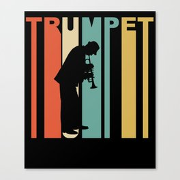 Retro 1970's Style Trumpet Player Silhouette Music Canvas Print