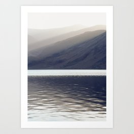 Shafts of sunlight at sunset of Crummock Water. Cumbria, UK. (Shot on film). Art Print