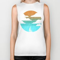 sail Biker Tanks featuring Go West (sail away in my boat) by Picomodi