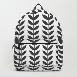 Dark Grey Scandinavian leaves pattern Backpack
