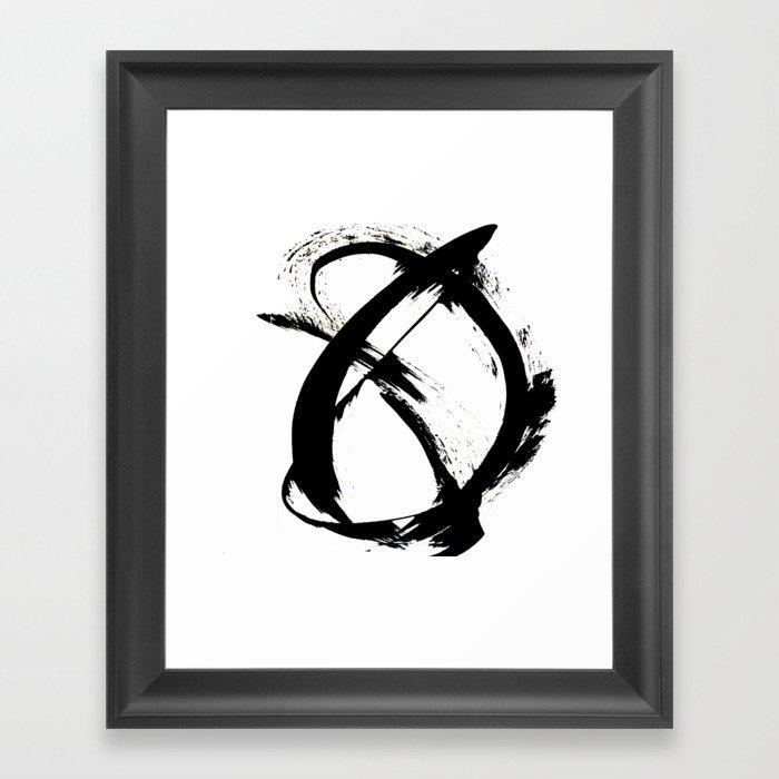 Brushstroke [7]: a minimal, abstract piece in black and white Gerahmter Kunstdruck