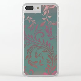 Ombre Damask Teal and Pink Clear iPhone Case
