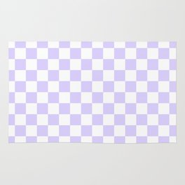 White and Pale Lavender Violet Checkerboard Rug