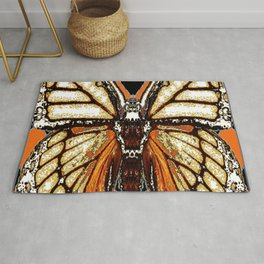 RIBBED WHITE BROWN & BLACK BUTTERFLY WING VEINS Rug