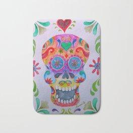 Mexican Calaca Sugar Skull Painting Bath Mat