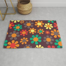 Hippy Flower Daisy Colorful Pattern Rug