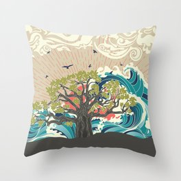 Stylized tree and stormy ocean or sea at sunset, art poster design Throw Pillow