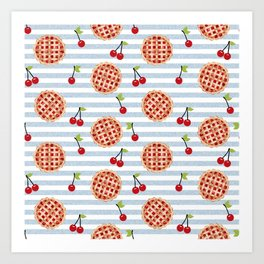 Pies with stripes trendy food fight apparel and gifts Art Print