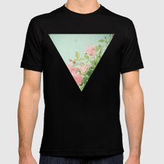 Pink Roses MEDIUM Black Mens Fitted Tee