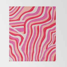 pink zebra stripes Throw Blanket