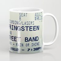 bruce springsteen Mugs featuring Bruce Springsteen & the E Street Band: Rain or Shine by Christine Leanne
