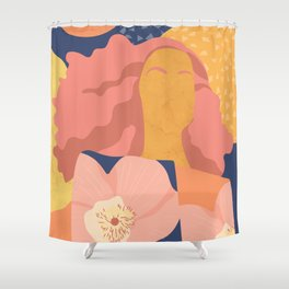 Women with eyebrow in the desert with flowery coat Shower Curtain