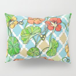 Climbing Nasturtiums on Blue and White Pillow Sham