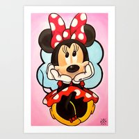 minnie mouse Art Prints featuring Minnie  by Diego Navarro