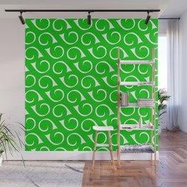 Green and White Swirls Wall Mural