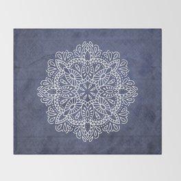 Mandala Vintage White on Ocean Fog Gray Throw Blanket