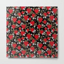 Strawberry Blooms – Black & Gold Metal Print