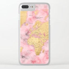 Gold and pink marble world map Clear iPhone Case