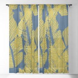 Carved Yellow&Blue Jungle #society6 #decor #buyart Sheer Curtain
