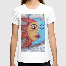 SOLUNA - Sun and Moon, mixed media art painting T-shirt