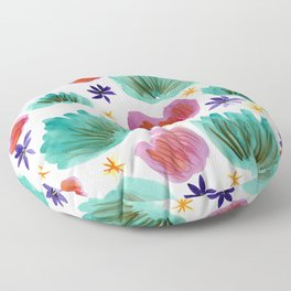 Teal and Pink Watercolor Pattern Floor Pillow