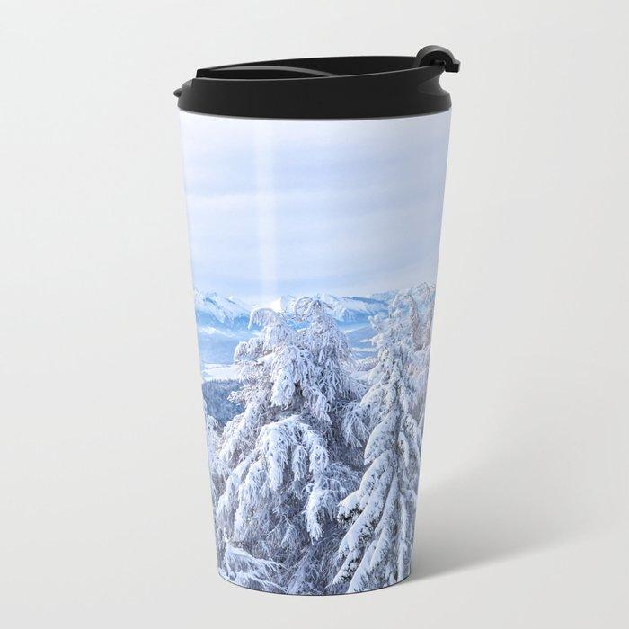 White out #mountains #winter Metal Travel Mug