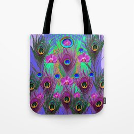 Blue Green Peacock Feathers Lavender Orchid Patterns Art Tote Bag