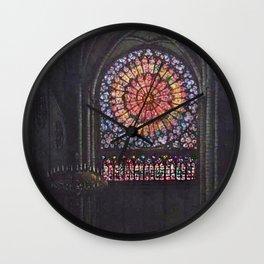 Rose Window Notre-Dame de Paris Cathedral Portrait Painting by T.S. Simon Wall Clock